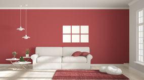 Minimalist room, simple white and red living with big window, sc Stock Images