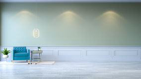 Vintage green room ,Minimalist  interior , blue armchair with green mint table and white lamp on green wall and white wood floorin. G , 3d render Stock Photo