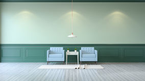 Vintage green room ,Minimalist  interior ,light  blue armchairs with green mint table  and white lamp on green wall and white wood. Flooring , 3d render Royalty Free Stock Photos