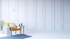 White room modern interior,yellow arm chair with white table /3d rendering Stock Image