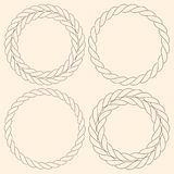 Minimalist rope simple round frames. Set Royalty Free Stock Photo