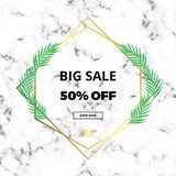 Minimalist sale white marble or stone texture with gold lines border and jungle palm tree. Luxury template for designs, banner, ca. Rd, flyer, invitation, party vector illustration