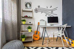 Minimalist scandi room with guitar Royalty Free Stock Photo