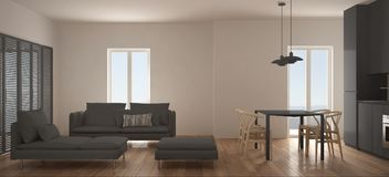 Minimalist scandinavian living room with kitchen and dining table, sofa, pouf and chaise longue, panoramic window, contemporary wh. Ite and gray interior design royalty free illustration