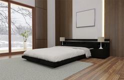 Minimalist and scandinavian Style with cozy Bedroom Interior and 3d render royalty free illustration