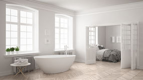 Minimalist scandinavian white bathroom with bedroom in the backg Royalty Free Stock Image