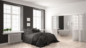 Minimalist scandinavian white bedroom with bathroom in the backg Royalty Free Stock Image