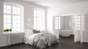 Minimalist scandinavian white bedroom with bathroom in the backg Stock Photos