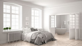 Minimalist scandinavian white bedroom with bathroom in the backg Royalty Free Stock Photo