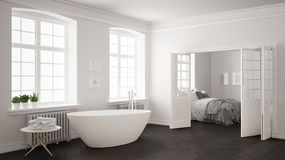 Minimalist scandinavian white and gray bathroom with bedroom in Stock Photos