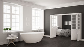 Minimalist scandinavian white and gray bathroom with bedroom in Royalty Free Stock Photography