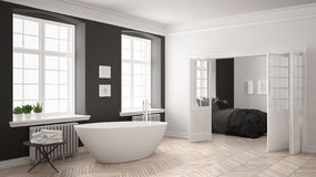 Minimalist scandinavian white and gray bathroom with bedroom in Royalty Free Stock Photo
