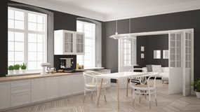 Minimalist scandinavian white kitchen with living room in the ba Royalty Free Stock Image