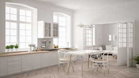 Minimalist scandinavian white kitchen with living room in the ba. Ckground, classic white interior design royalty free stock photos