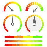 Minimalist score indicators with color levels. From low to max. Abstract concept graphic element of tachometer, speedometer. Gauges vector set Stock Photography