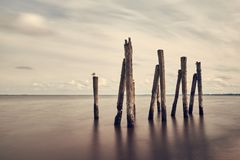 Minimalist sea, sky and breakwater landscape, Baltic sea Royalty Free Stock Image