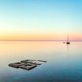 Minimalist Seascape. Coastal Sunrise. Royalty Free Stock Images