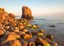 Minimalist Seascape. Coastal Sunrise. Ukraine. Crimea. Royalty Free Stock Photo