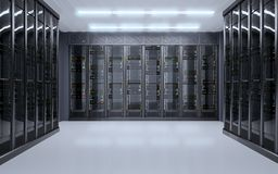 Minimalist server room interior with big doors and wall of servers Royalty Free Stock Photos