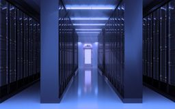 Minimalist server room interior with big doors and wall of servers Stock Photography