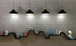 Minimalist shelf. 3d render of minimalist shelf, modern art, minimalist design Stock Photo