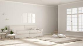 Minimalist simple clear living, monochrome white, scandinavian c royalty free illustration