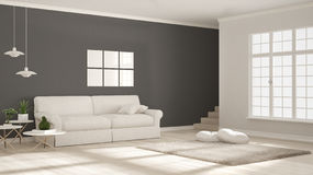 Minimalist simple clear living, white and gray, scandinavian cla Royalty Free Stock Photos