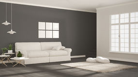 Minimalist simple clear living, white and gray, scandinavian cla Stock Photo