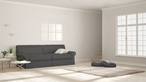 Minimalist simple clear living, white and gray, scandinavian cla Stock Image