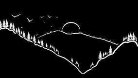 Minimalist sketch white on black of mountains at sunrise Royalty Free Stock Photo