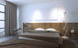 Minimalist sovrum i brun färg royaltyfri illustrationer