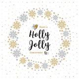Minimalist stil för Holly Jolly Christmas kort, krans, snöflingor, vit bakgrund stock illustrationer