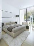 Minimalist stil i inre av sovrummet Arkivbild