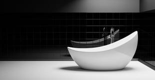 Minimalist svartvitt badrum royaltyfria bilder