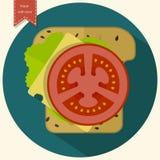Minimalist toast icon. Sandwich with cheese, tomatoes, lettuce. Vector illustration Stock Photo