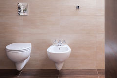 Minimalist toilet in modern house Royalty Free Stock Photo