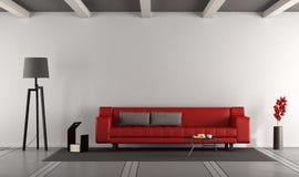 Minimalist vardagsrum med soffan royaltyfri illustrationer