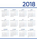 Minimalist vector 2018 calendar. Week starts on monday Royalty Free Stock Photos