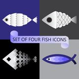 Minimalist vector set of four stylized fish icons. Seafood or fishing store logo ideas. Collection with white and blue concepts isolated on grey, blue and Royalty Free Stock Photos