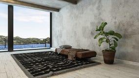 Minimalist vindomvandling med bänken och filten arkivfoto