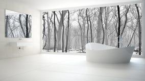 Minimalist vit- och grå färgbadrum med det stora panorama- fönstret, wi arkivbild