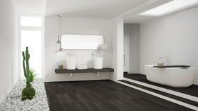 Minimalist vitt badrum med suckulentträdgården, trägolv royaltyfri foto