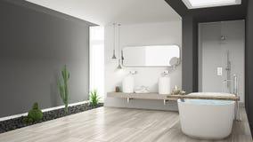 Minimalist vitt badrum med suckulentträdgården, trägolv royaltyfria foton