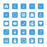Minimalist web buttons. Set of blue minimalist vector buttons with web icons Royalty Free Stock Photos