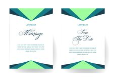 Minimalist wedding invitations with flat color background. Marriage invitation card stock illustration
