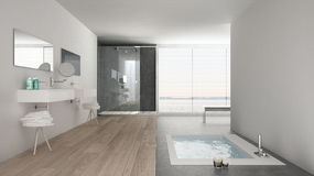 Minimalist white bathroom with bath tub and panoramic window Stock Photo