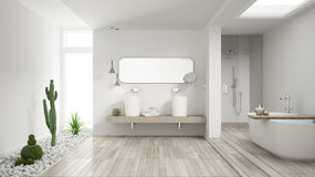 Minimalist white bathroom with succulent garden, wooden floor an Royalty Free Stock Image