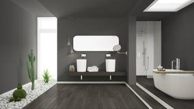 Minimalist white bathroom with succulent garden, wooden floor an Stock Photography
