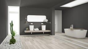 Minimalist white bathroom with succulent garden, wooden floor an Stock Images