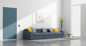 Minimalist white and blue lounge Royalty Free Stock Photos